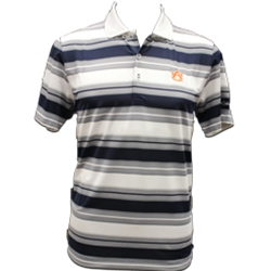 Tonal and White Striped Polo, Navy