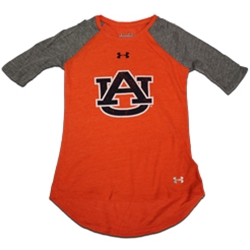 AU Interlock Orange Baseball Tee With Grey Sleeves