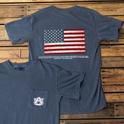 American Flag with Auburn Creed Verse Comfort Colors Short Sleeve Tee