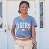 Auburn Ladies Vneck Slub Denim Tee