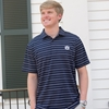 AU Small Horizontal Stripe Navy Polo