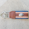 AU Embossed Leather and Gros Grain Keychain