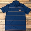 AU Under Armour Navy Polo with Orange Stripes