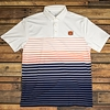 AU White Polo with Navy & Orange Stripes
