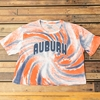 Auburn Bubble Letters Tie Dye Crop Top