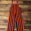 Navy & Orange Striped Gameday Overalls