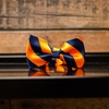 Navy & Orange Diagonal Stripe Bow Tie