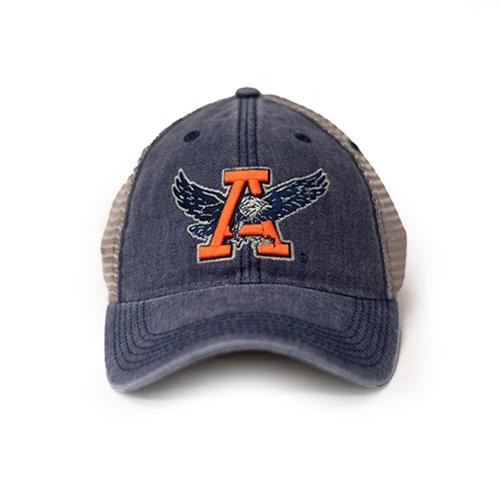 Eagle Through A Navy and Grey Mesh Trucker Cap