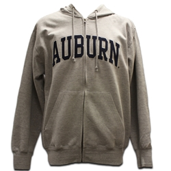 Full Zip Flock Auburn Arch Hooded Sweatshirt