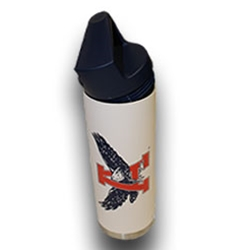 Eagle Through A White Stainless Steele Water Bottle
