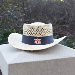 Gambler Straw Hat with Navy Band