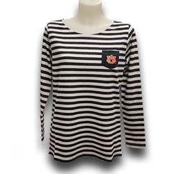 Womens French Terry Stripe Elbow Patch Tee