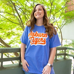 Auburn Tigers Good Vibes Flouorescent Blue Tee