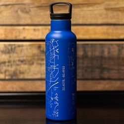Auburn Map Watter Bottle- Navy/ Silver